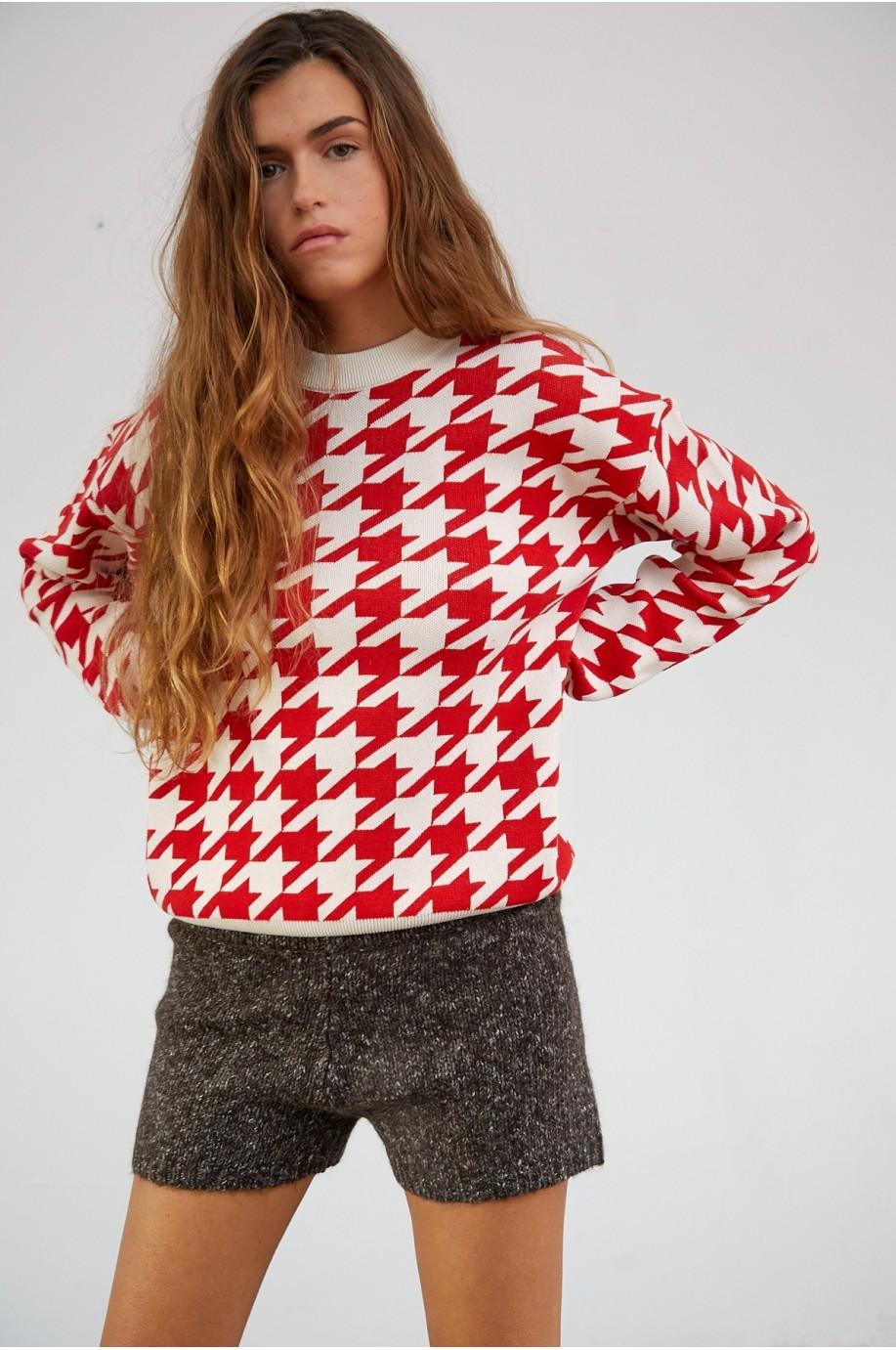 Red Houndstooth Chamonix Sweater